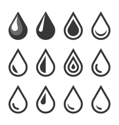 Oil Or Water Drop Emblem Logo Template Icon Set vector image vector image