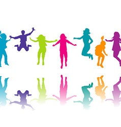 Set of colorful children silhouettes jumping vector image vector image