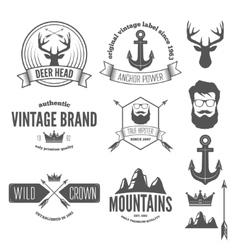 Set of stylish vintage hipster badge modern vector image vector image