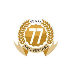 77 years ribbon anniversary vector