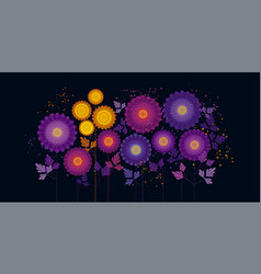 Abstract chrysanthemum color on black vector