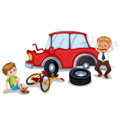 Accident scene with car crash and injured boy vector