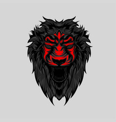 angry wild lion head geometric vector image