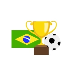 Ball Championship Prize And Brazilian Flag vector image