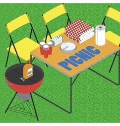 BBQ on grass ilustration vector image