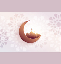 Beautiful eid festival greeting with mosque vector