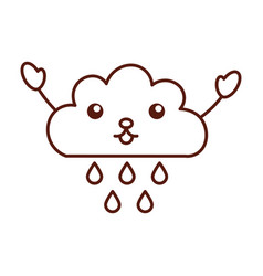 Beautiful fantasy cloud with rain drops kawaii vector