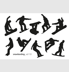 black silhouettes snowboarders on a white vector image
