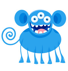blue monster fantasy character cartoon vector image
