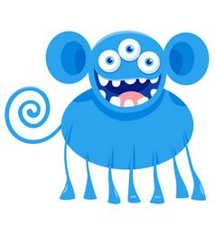 blue monster fantasy character cartoon vector image