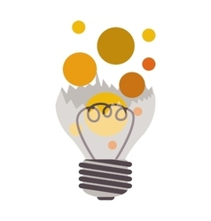 Broken bulb with colorful bubbles vector