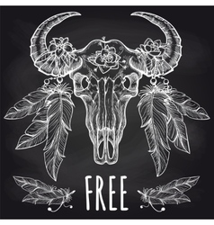 Buffalo skull with feathers headdress vector image