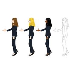 Business Woman Long Hair Hand Shake vector image
