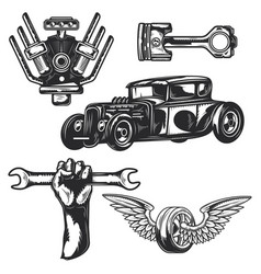 car service elements for creating your own logos vector image