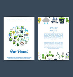 card or flyer templates set with ecology vector image