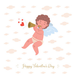 card with cupid character playing music of love vector image