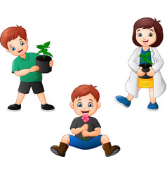 cartoon kids holding a plants vector image
