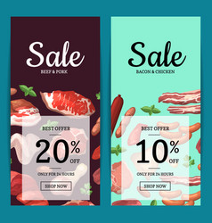 cartoon meat elements sale banners vector image