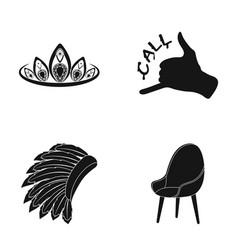 Chair diadem and other web icon in black style vector