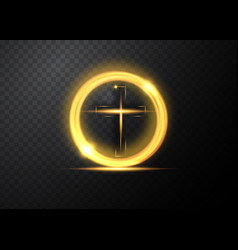 cross light shiny cross with golden round frame vector image