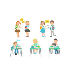 cute primary schools pupils communicating and vector image