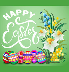 easter greeting card with colored eggs and flowers vector image