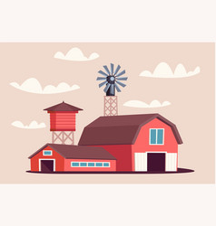 farmyard buildings flat vector image