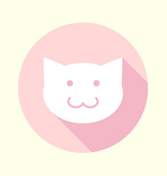 flat pastel pink cat icon vector image