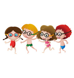 four kids wearing swimming goggles vector image