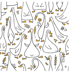 funny goose family seamless pattern for your vector image