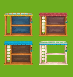 Game wooden shelf windows set vector