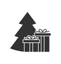giftbox at the christmas tree icon vector image