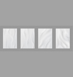 Glued paper realistic wet wrinkled posters white vector