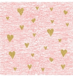 Gold glittering heart seamless pattern vector image