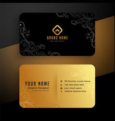 Golden floral business card template design vector