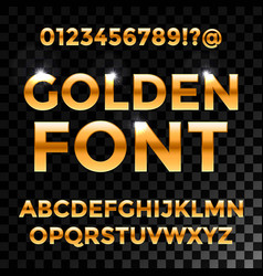 golden glossy font or gold alphabet yellow vector image