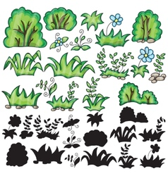 Grass and flowers with silhouttes vector image