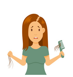 Hair loss in female problem girl holds vector