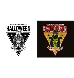 halloween emblem with witch head two styles black vector image