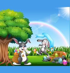 happy easter bunnies on the nature park vector image