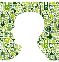 Human head with green icons background vector image vector image