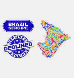 Industrial sergipe state map and grunge declined vector