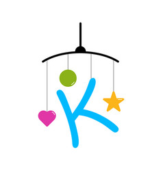 Initial letter k toy baby vector