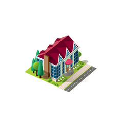 Isometric facade cottage near road vector