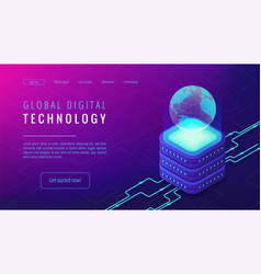Isometric global digital technology landing page vector