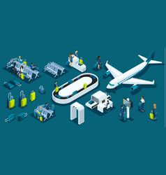 isometric large set with airport symbols vector image