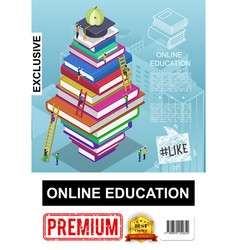isometric online education poster vector image