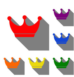 King crown sign set of red orange yellow green vector
