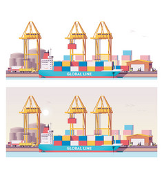 low poly 2d cargo port vector image