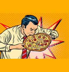 man bites pizza vector image